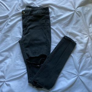 American Eagle Black Ripped Jeggings